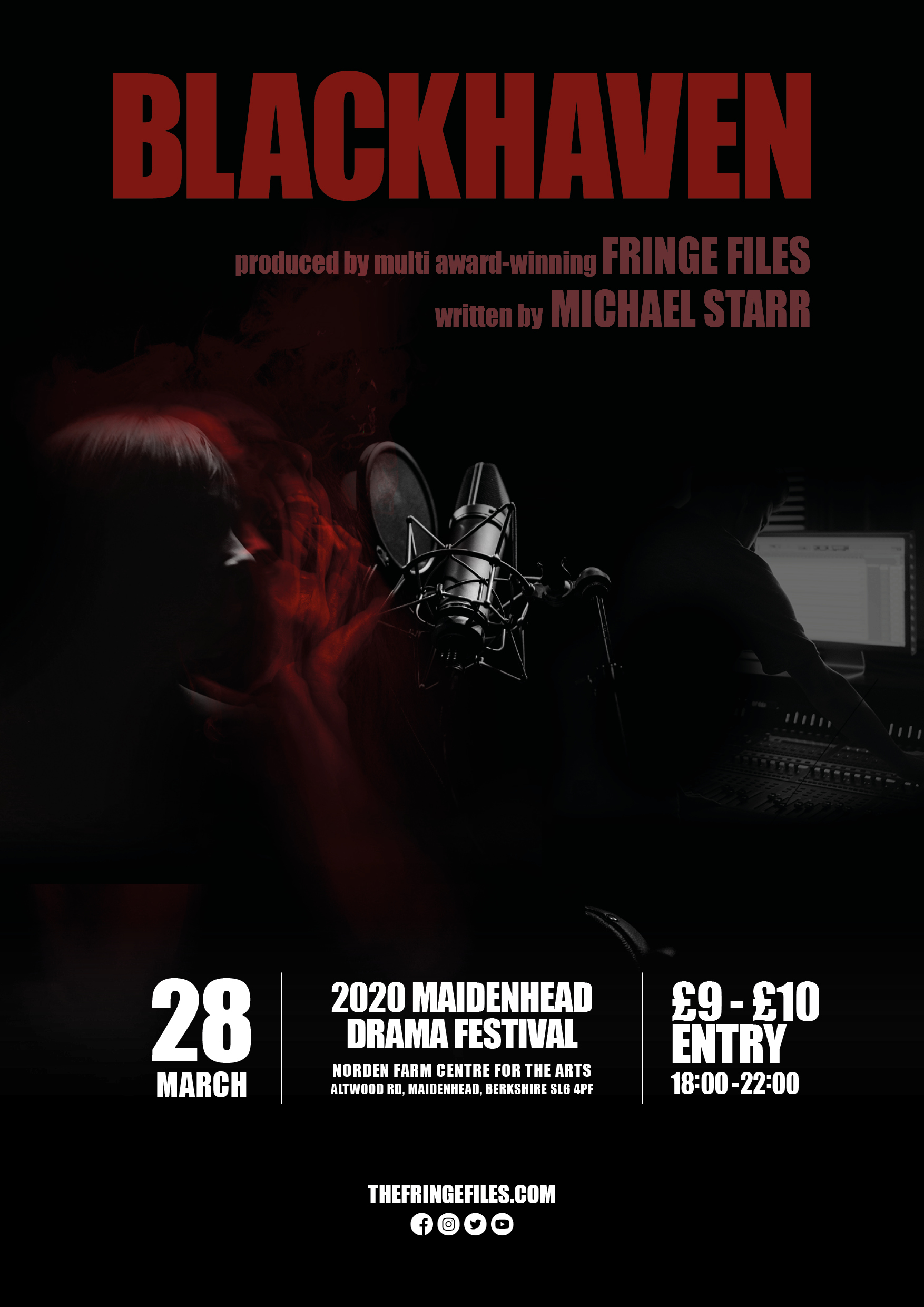 Blackhaven poster design for the 2020 Maidenhead Drama Festival