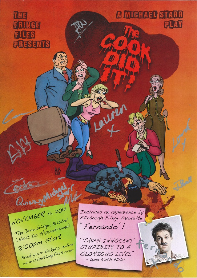 The Fringe Files 2012 The Cook Did It official signed poster