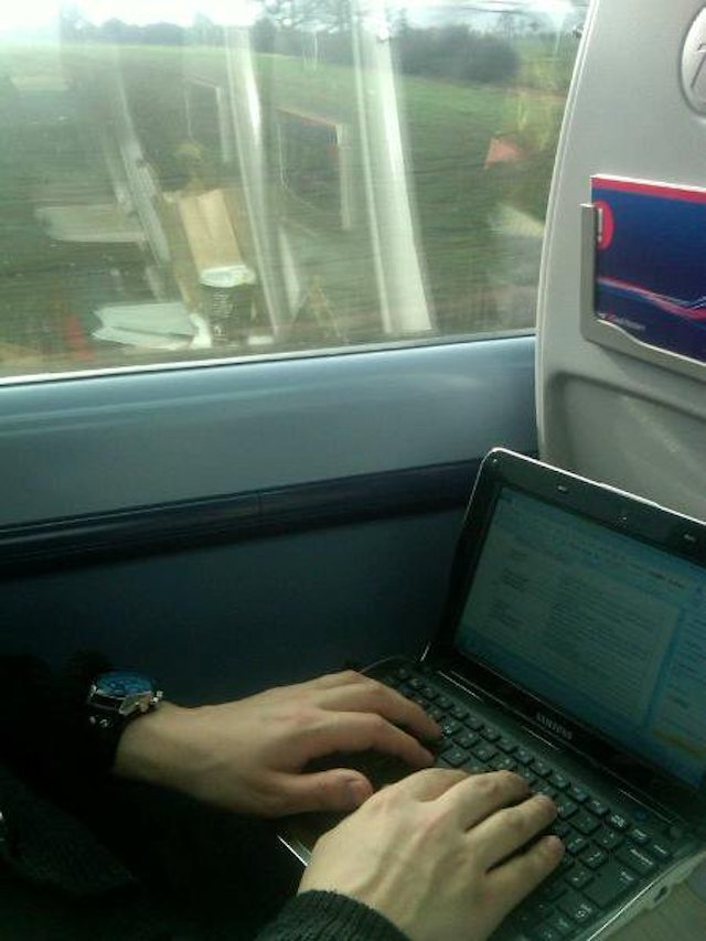 Michael Starr working on The Curse of Miss Fortune script on the train up to the Edinburgh Fringe meeting